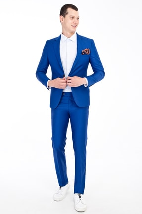 Kiğılı Erkek Mavi Slim Fit Takım Elbise - 81599