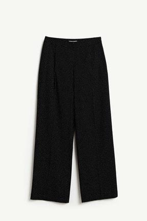 Yargıcı Kadın Siyah Desenli Önü Katlamalı Pantolon 9KKPN3108A