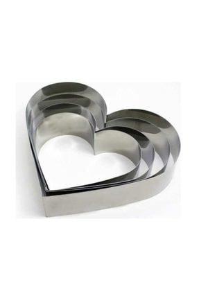 Nar kalıp Kalp Çember Pasta Kek Kalıbı 4'lü Set Derinlik 8cm
