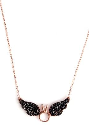 Sahra Kadın Zirkon Süslemeli Tek Taş Kanat Tasarım 925 Ayar Gümüş Kolye KLY-0066-23