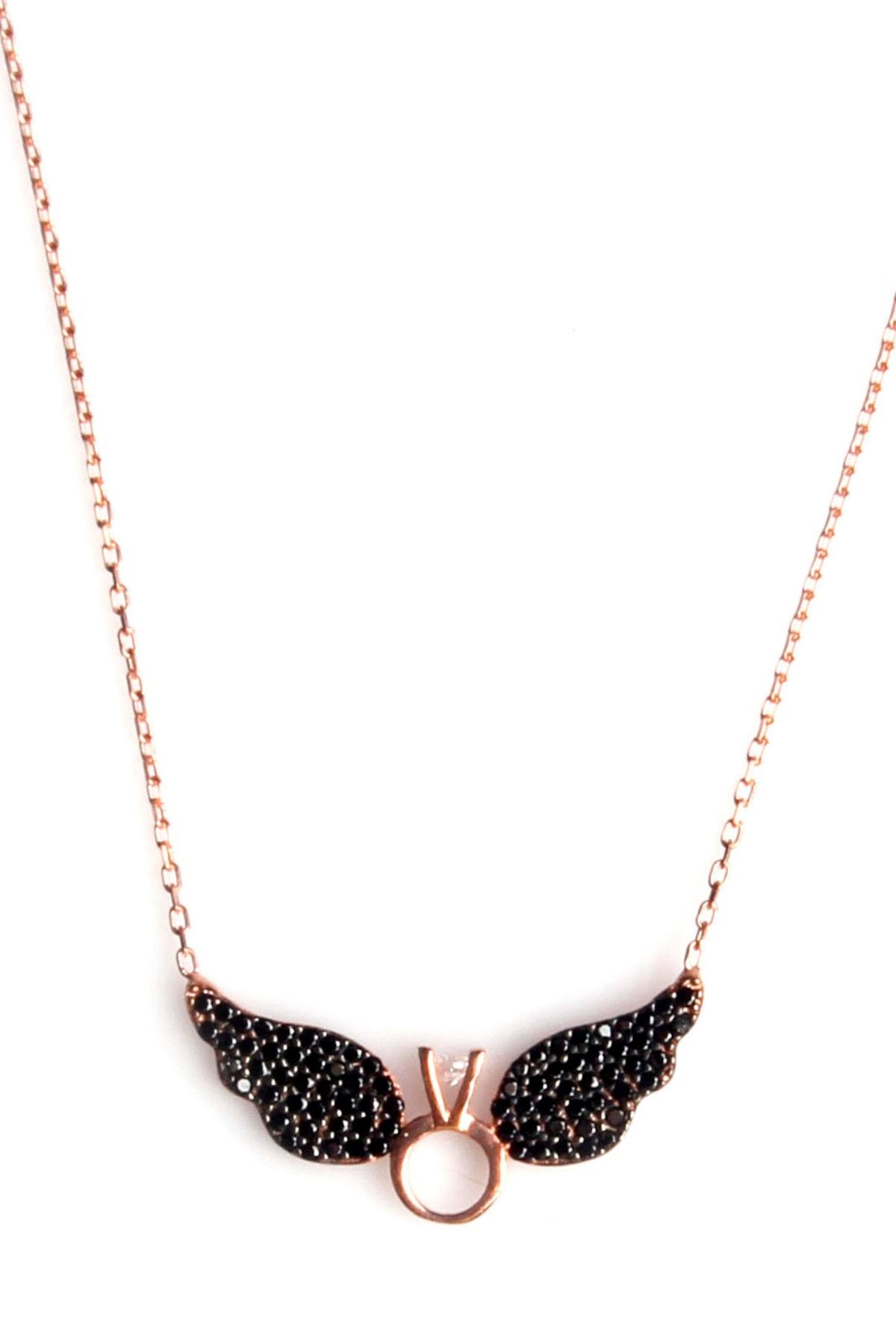 Sahra Kadın Zirkon Süslemeli Tek Taş Kanat Tasarım 925 Ayar Gümüş Kolye KLY-0066-23 1