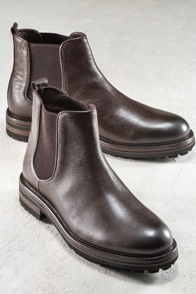 Elle Shoes SAMMIE Hakiki Deri Kahverengi Erkek Bot