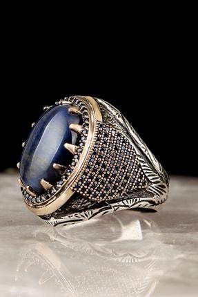 Tesbihevim Mavi Kaplangözü Taşlı Kalem İşleme 925 Ayar Gümüş Yüzük