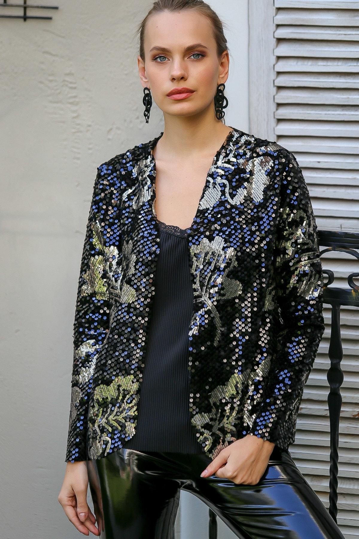 Chiccy Kadın Multı Vintage Gold Pul Payetli Dev Yapraklar Cepken Ceket