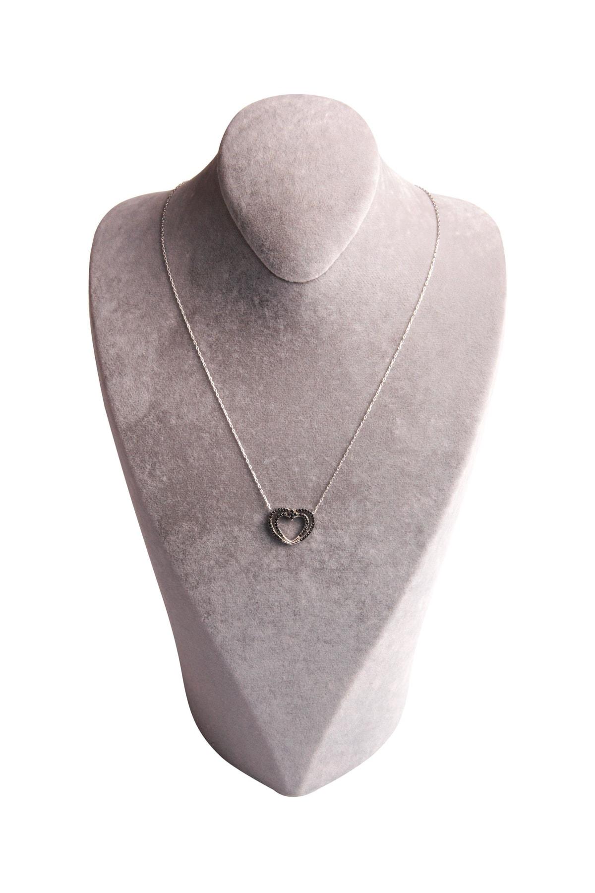 Sahra Zirkon Süslemeli Kalp Tasarım 925 Ayar Gümüş Kolye KLY-0066-27 2