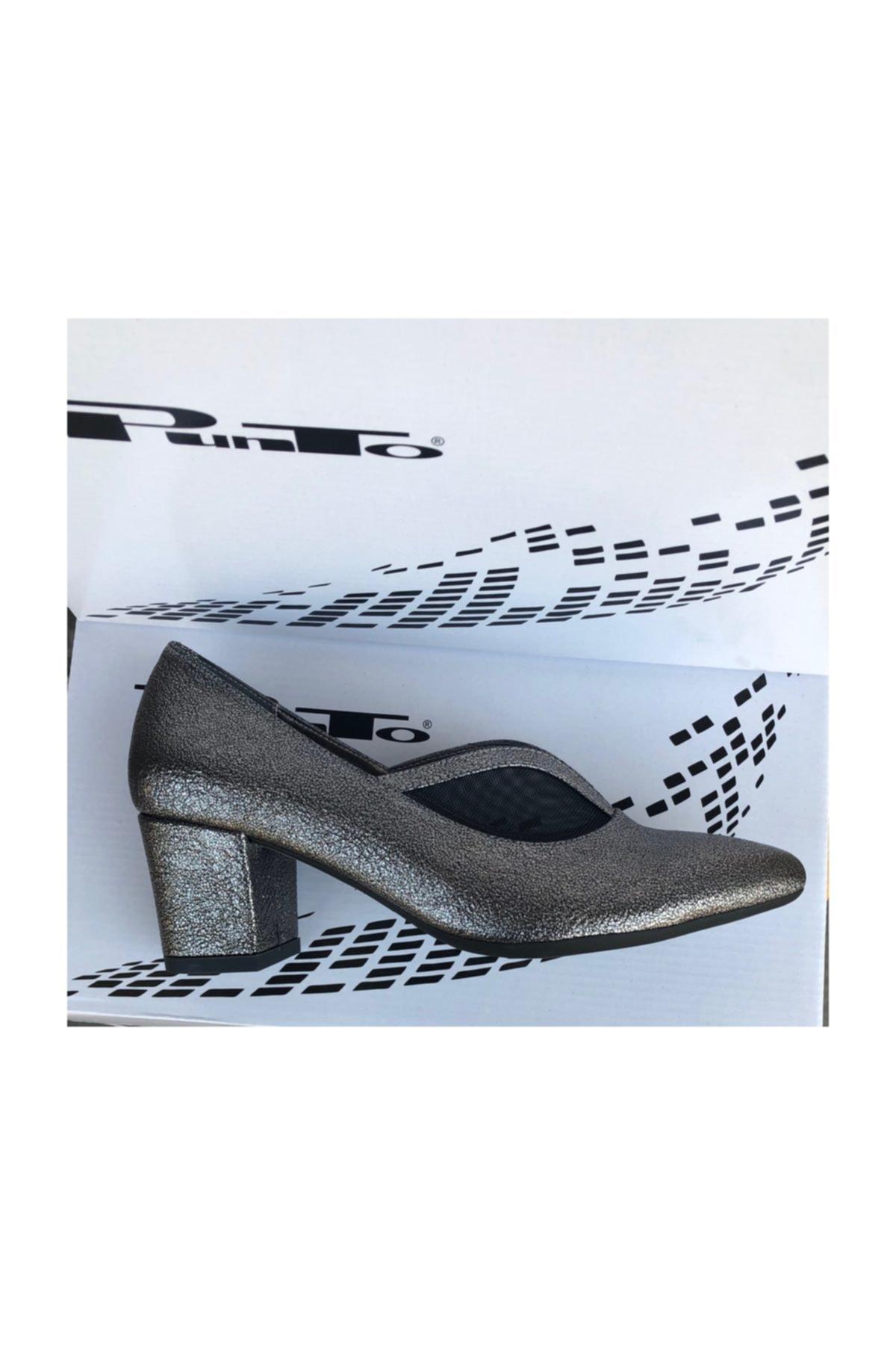 PUNTO 533044 -06 Platin Kısa Topuk Bayan Ayakkabı 1