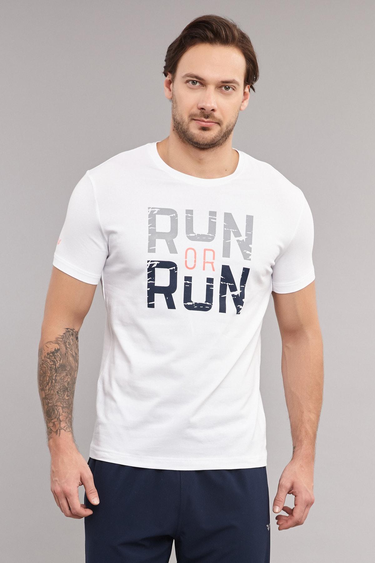 bilcee Beyaz Pamuklu Erkek T-Shirt ES-1362