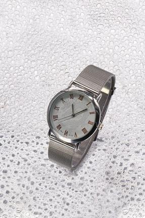 TAKIŞTIR Gümüş Renk Hasır Detaylı Bayan Saat