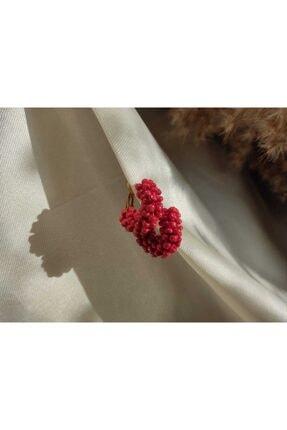 Respect Caterpillar Serisi El Yapımı Kırmızı Cam Boncuk Küpe