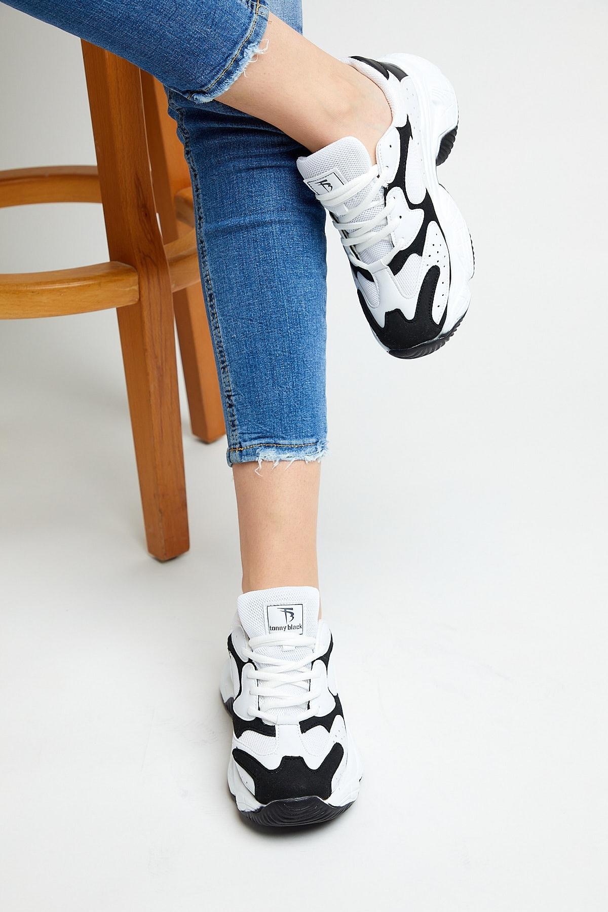 Tonny Black Kadın Beyaz Siyah  Spor Ayakkabı Tb284 2