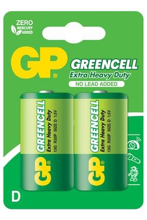 GP Batteries Batteries 13g Greencell R20p/1250/d Boy Kalın Pil, 1.5 Volt, 2'li Kart