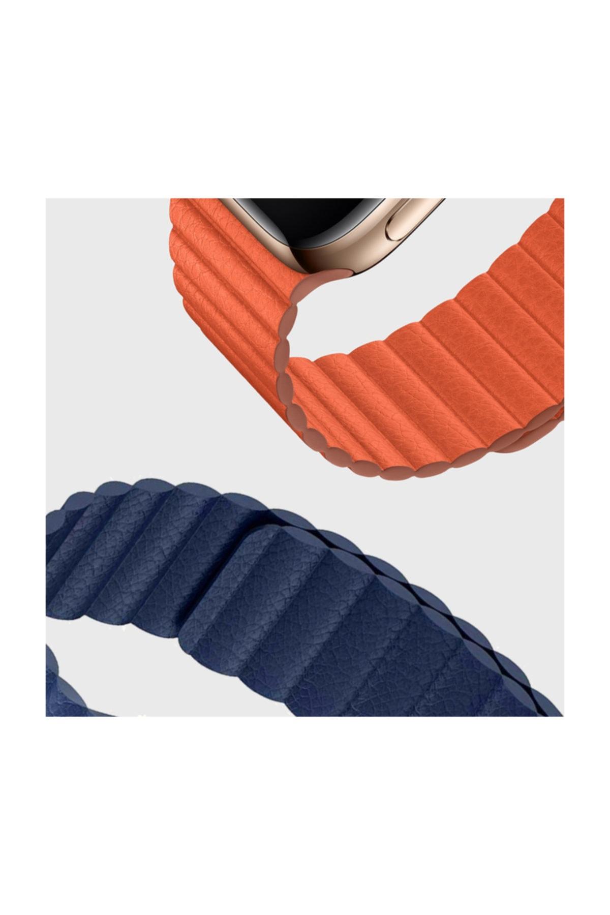 Telefon Aksesuarları Watch Series 5 44mm Twist Leather Loop Kordon, Microsonic Lacivert 1