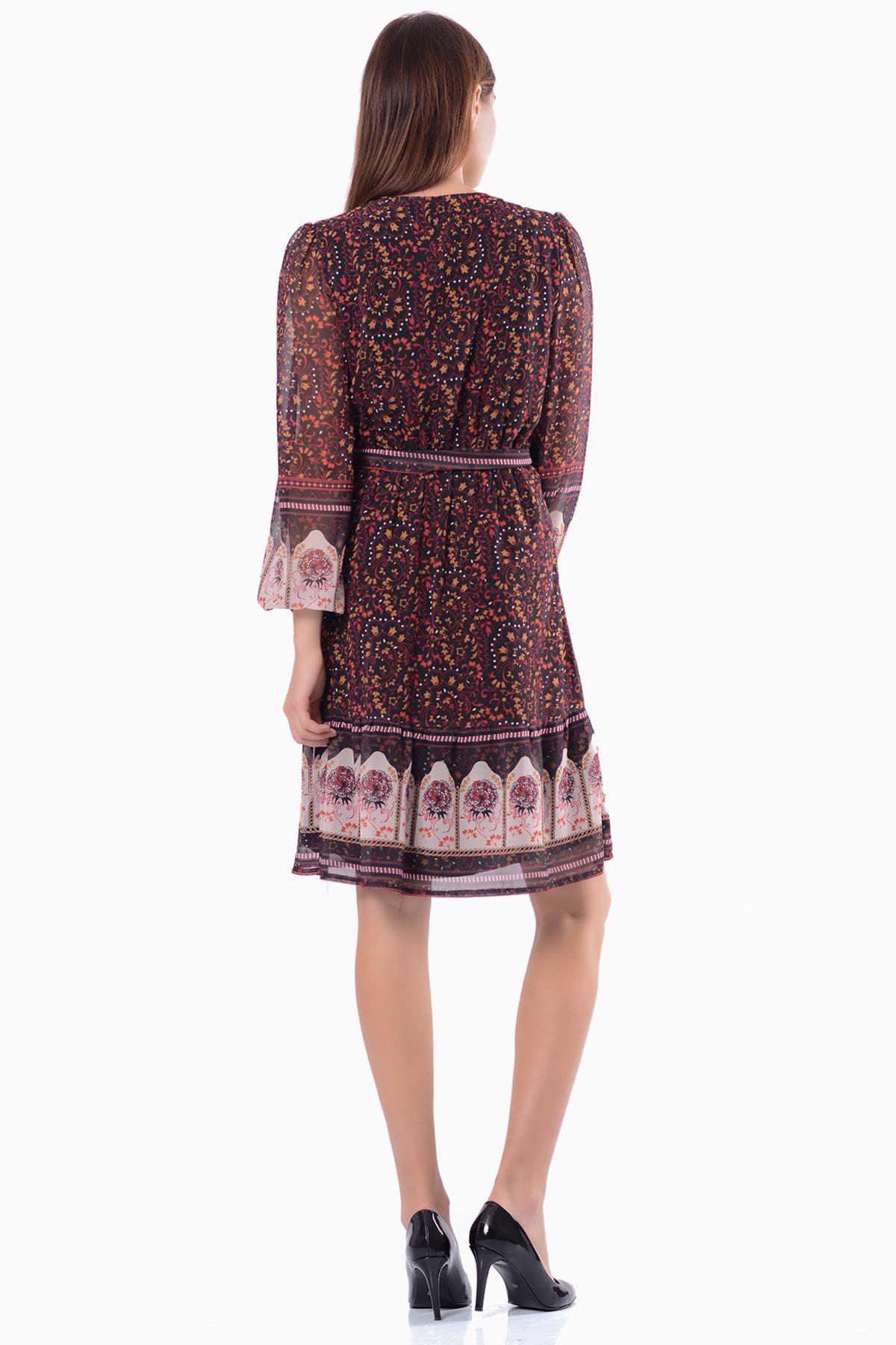 İroni Kadın Siyah & Desenli Kruvaze  Elbise 5301-1333 2