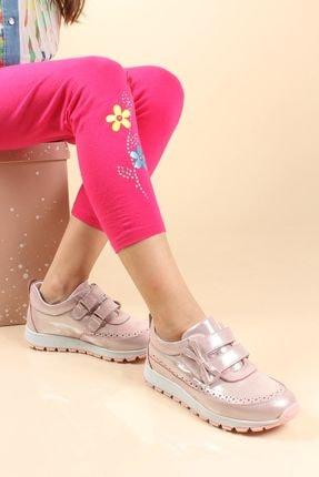 FAST STEP Hakiki Deri Pudra Simli Kız Çocuk Casual Ayakkabı