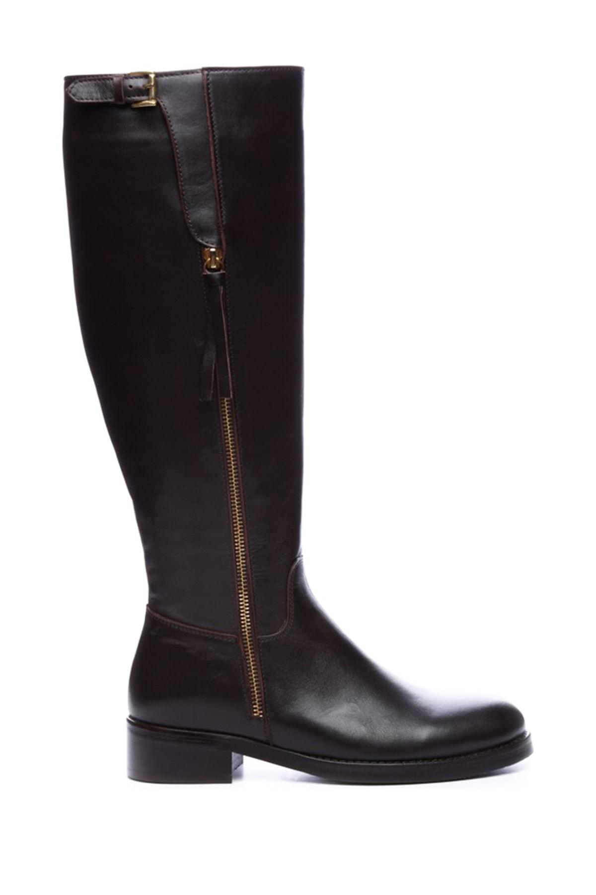 KEMAL TANCA Hakiki Deri Kahverengi Kadın Casual Çizme 51 6370 C BN CIZME 1