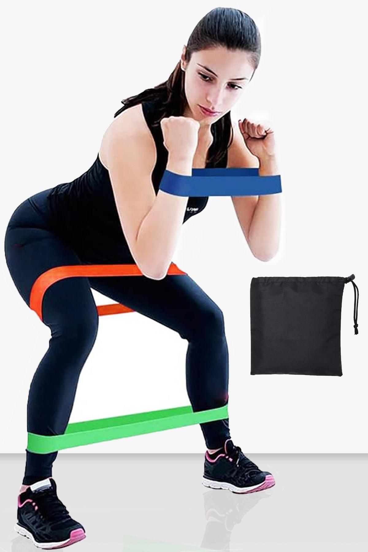 Delta Çantalı 3 Lü Farklı Dirençte Aerobik Bandı Hafif Orta Sert Pilates Squat Çalışma Lastiği Egzersiz 1