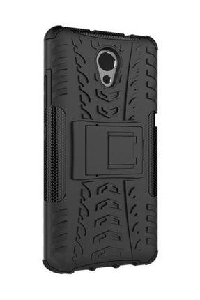 Microcase Siyah Lenovo P2 Standlı 2in1 Silikon Armor Kılıf