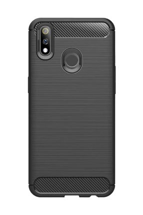 Microcase Realme 3 Pro Brushed Carbon Fiber Silikon Kılıf Siyah