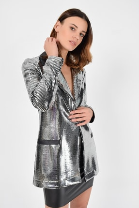 Laranor Kadın Silver Pul Payet Klasik Kesim Ceket 19L6765