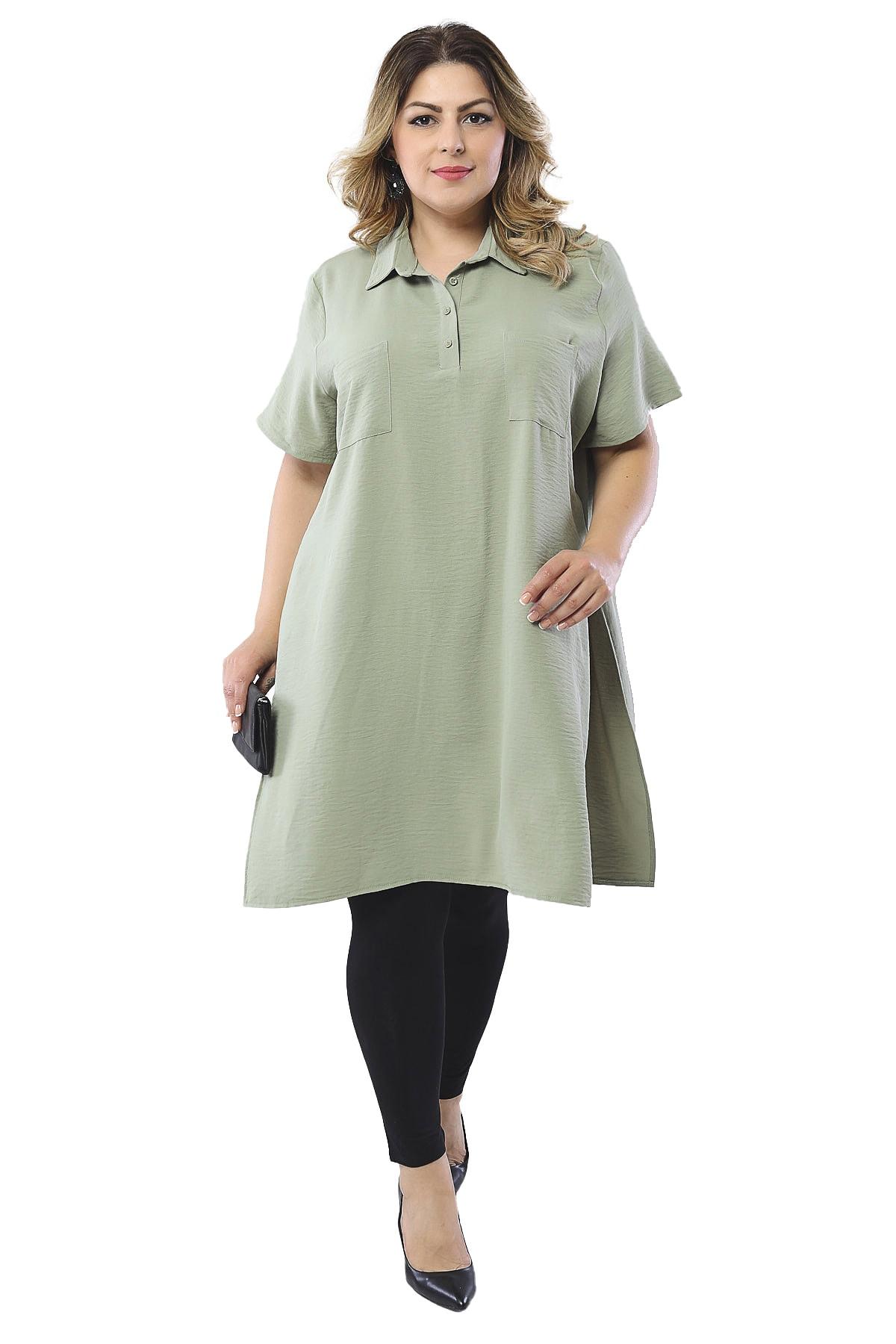 Hanezza Yan Yırtmaç Detaylı Tunik Gömlek