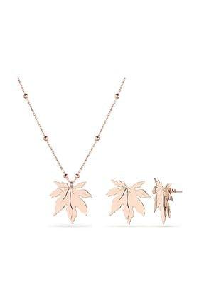 MySilvers Çınar Yaprağı Gümüş Set Kadın Rose