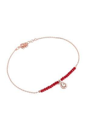 MySilvers Kırmızı Doğal taşlı Damla Gümüş Halhal Kadın Rose
