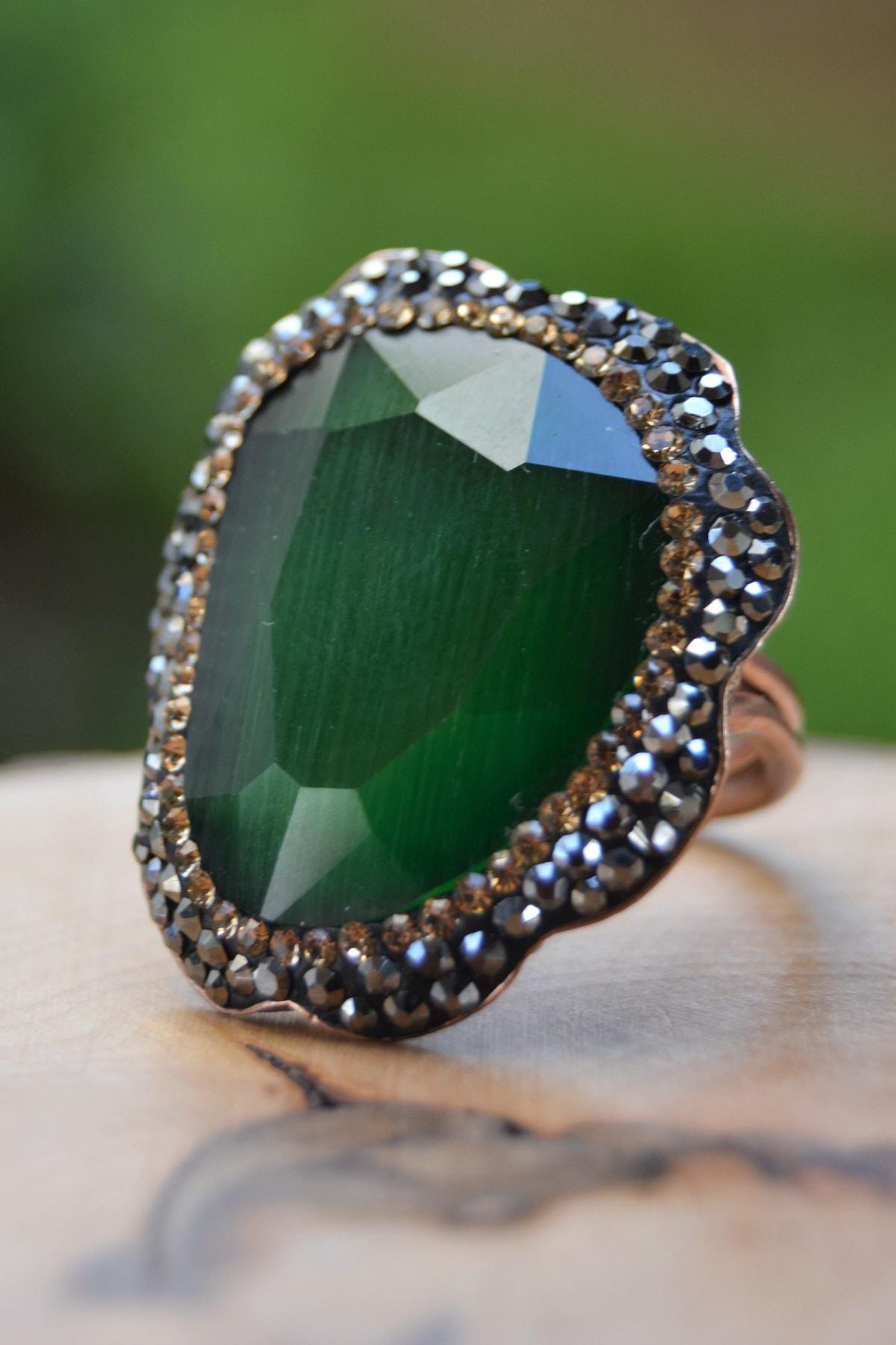 Stoneage Yeşil Kristal Ayarlanabilir Bayan Yüzük 1