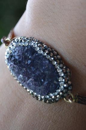 Stoneage Jewellery El Yapımı Ametist Doğal Taş Bileklik