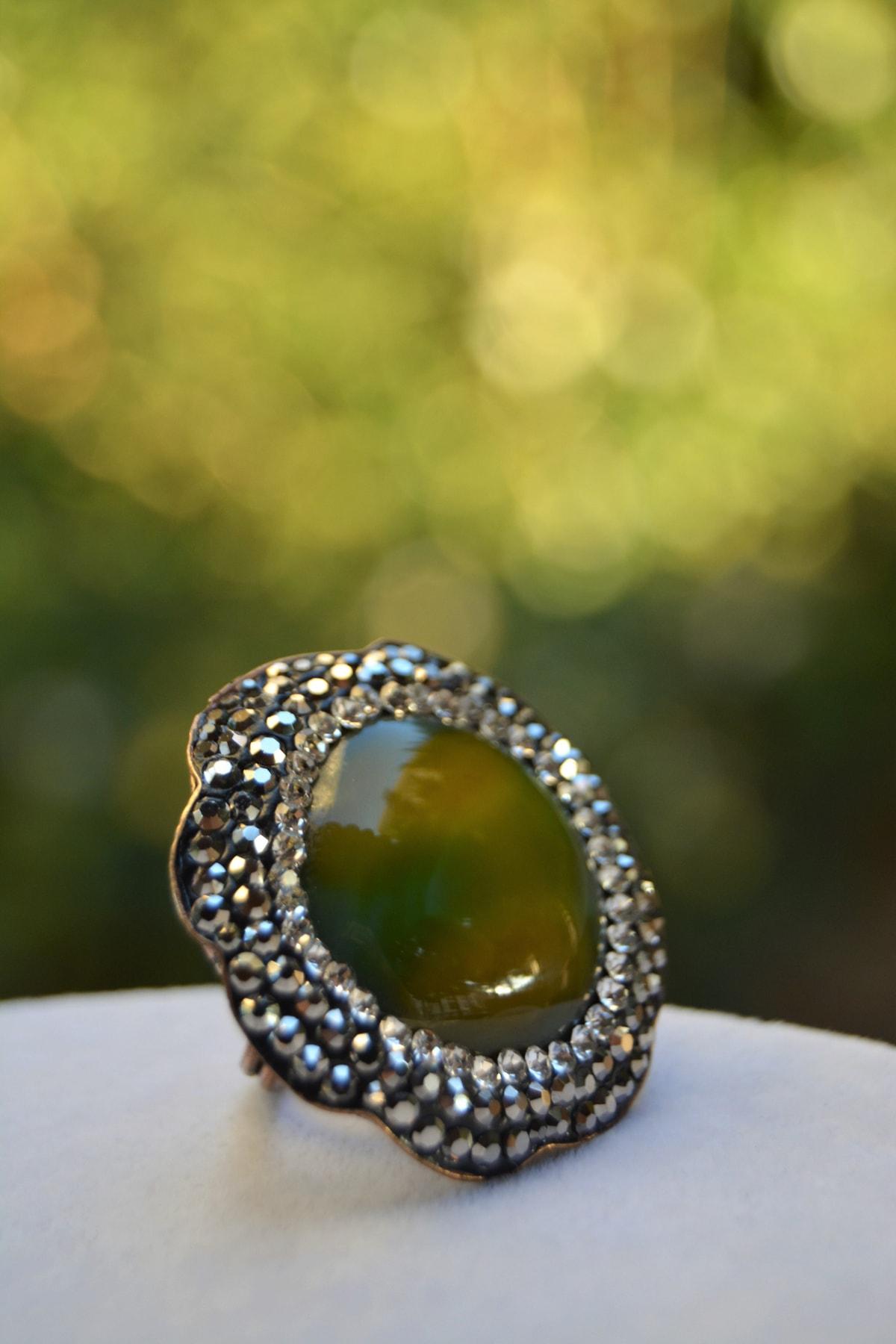 Stoneage Yeşil Akik Doğal Taş Ayarlanabilir Kadın Yüzük 1