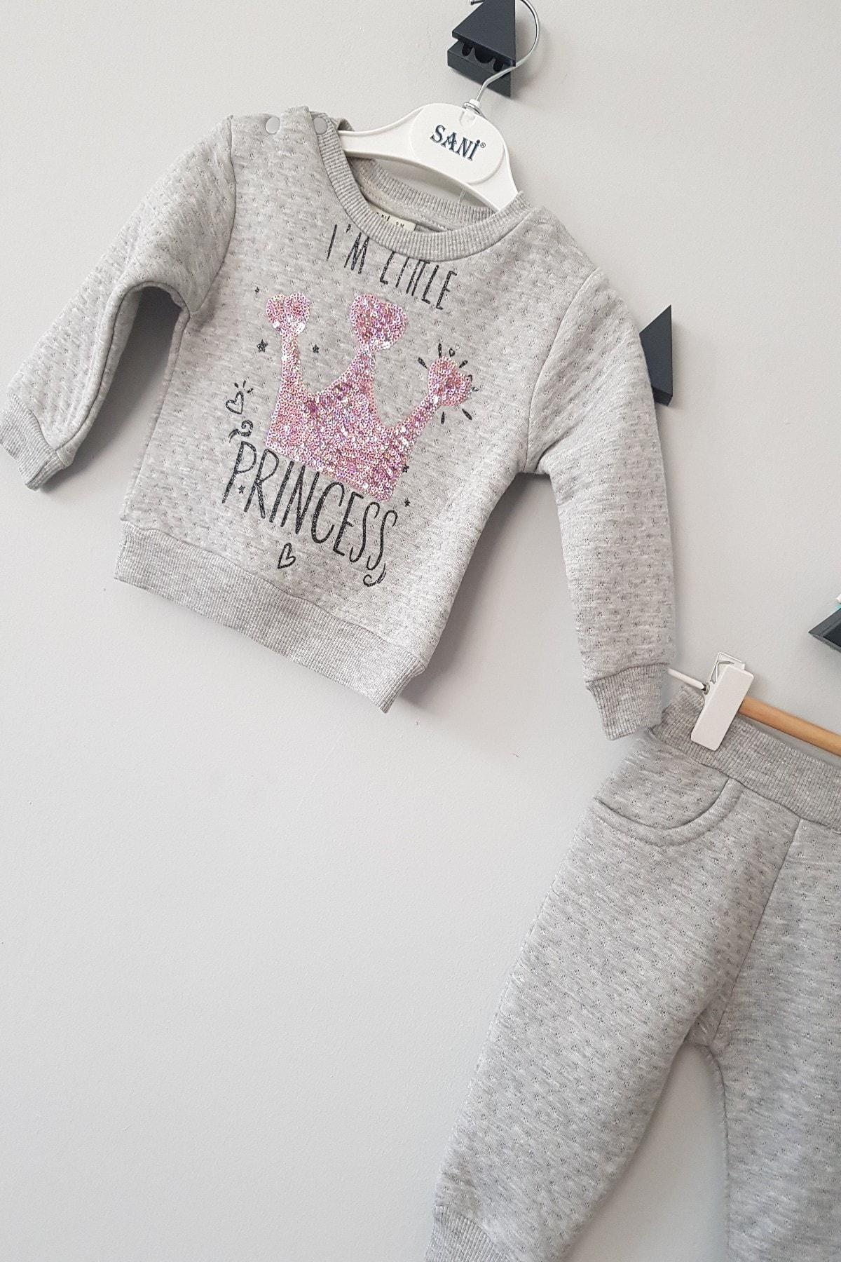 Sani 9/24 Kız Bebek Pamuklu Simli Gri Princess Baskı Ikili Takım 1