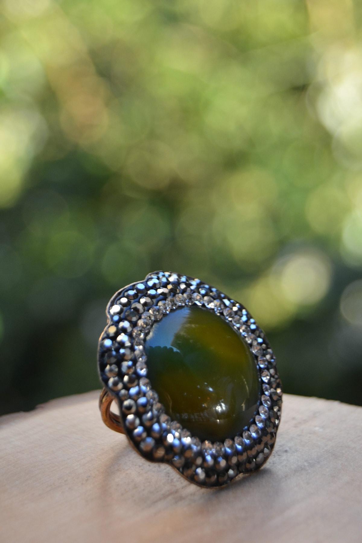Stoneage Yeşil Akik Doğal Taş Ayarlanabilir Kadın Yüzük 2