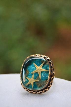 Stoneage Gerçek Deniz Yıldızı El Yapımı Bayan Ayarlanabilir Yüzük