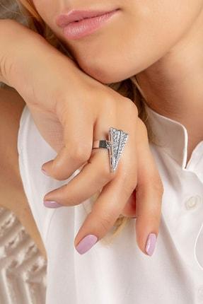 Modex Gümüş Rengi Kristal Taşlı Üçgen Figürlü Yüzük