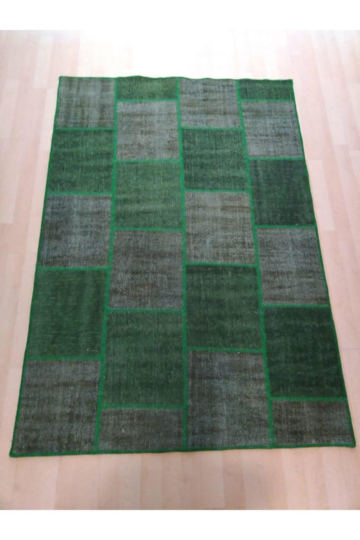 Çam Halı El Dokuma Yeşil Patchwork Halı 160x230 3,68 M2 2