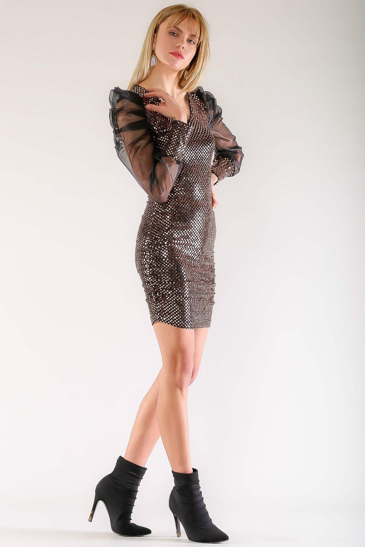 Chiccy Kadın Bakır Vintage Organze Balon Kol Işıltılı Elbise M10160000EL97480