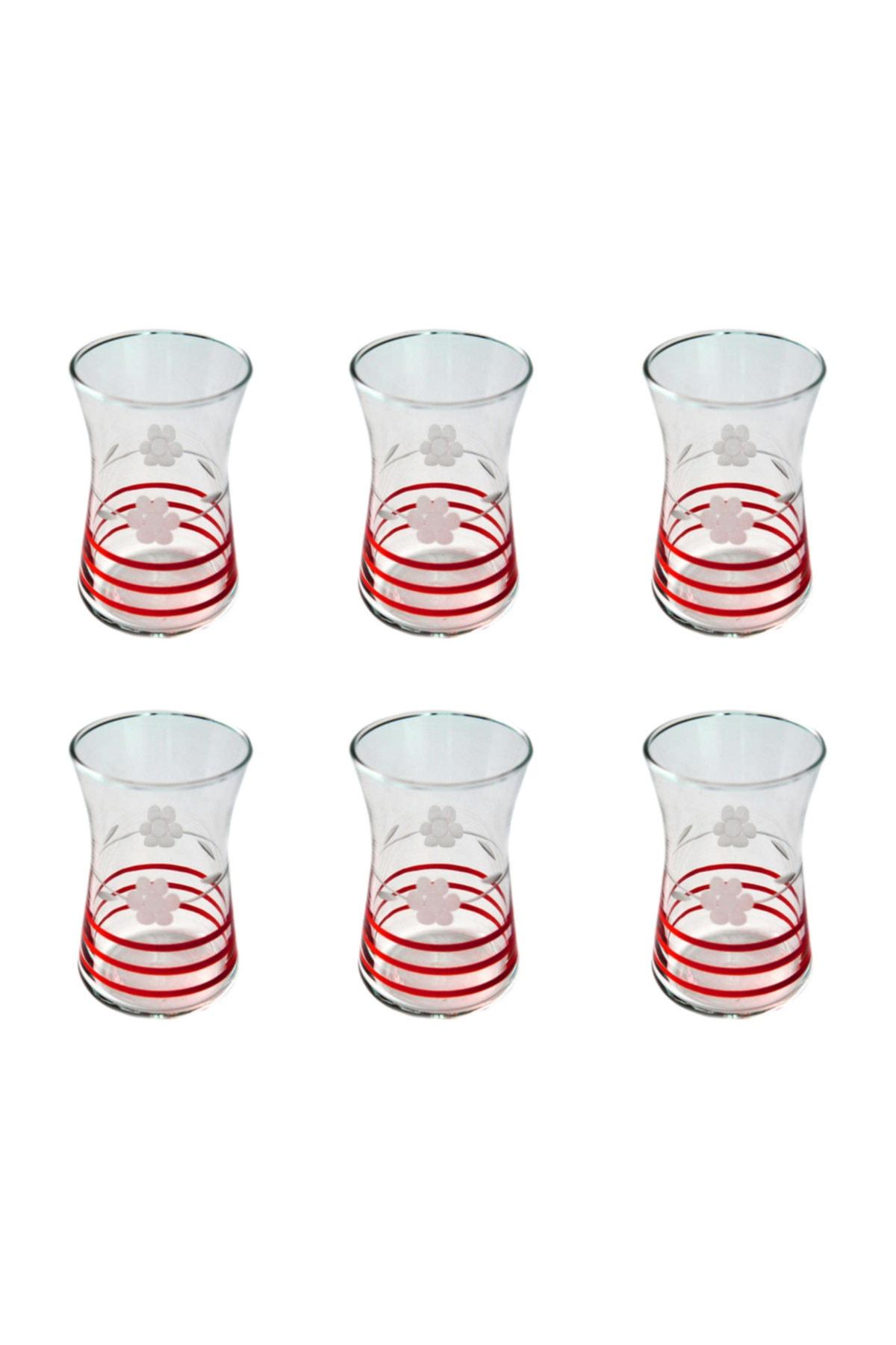 BAŞAK 42361 Heybeli Papatya (kırmızı) Dekor 6 Adet Çay Bardağı 1