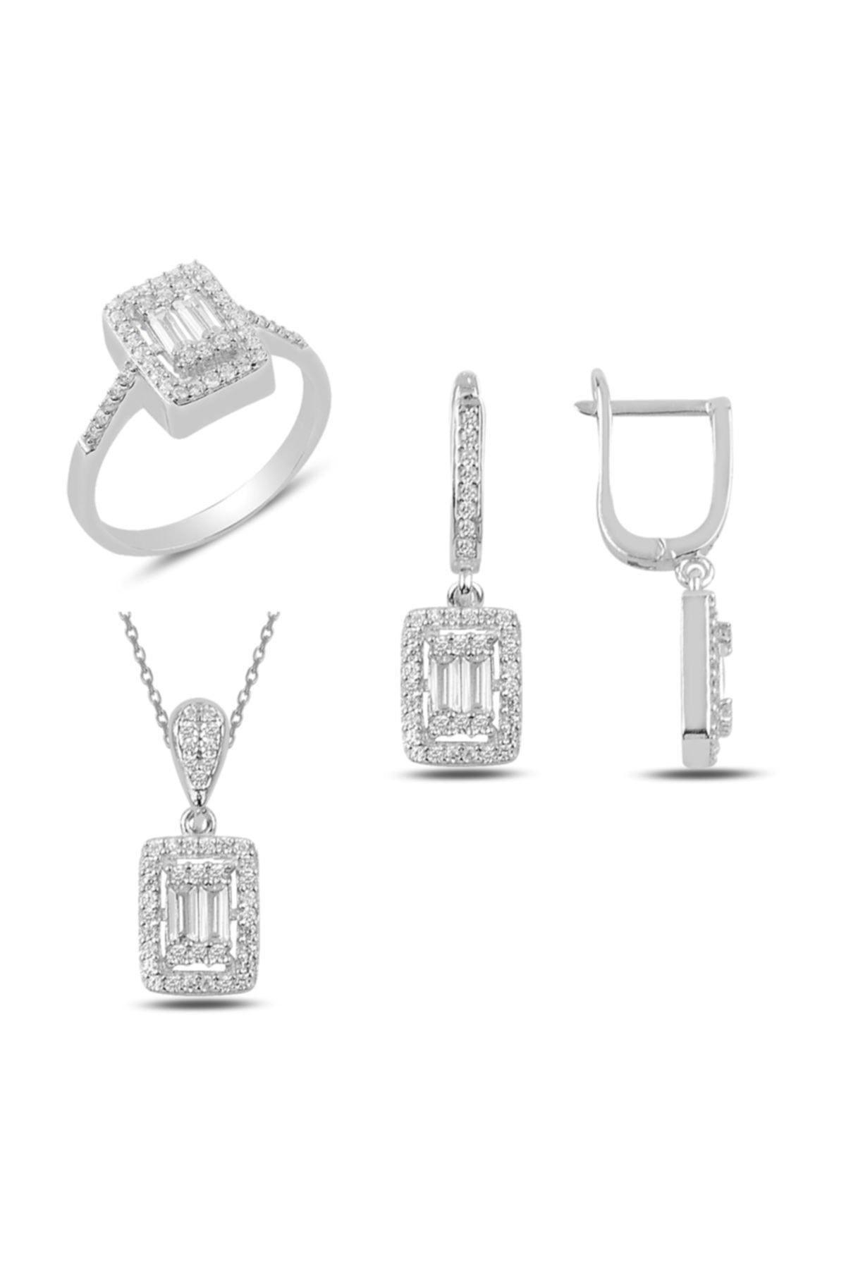 Mercan Silver Baget Taşlı Gümüş Set 1