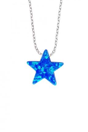 Altın Sepeti Gümüş Yıldızlı Mavi Opal Kolye