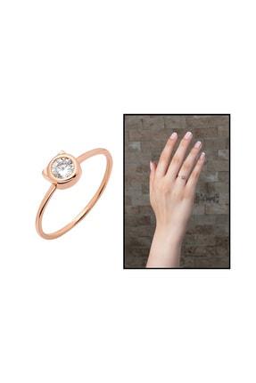 Tesbihane Kurdela Tasarım Roz Renk 925 Ayar Gümüş Kadın Tektaş Yüzük 102001581