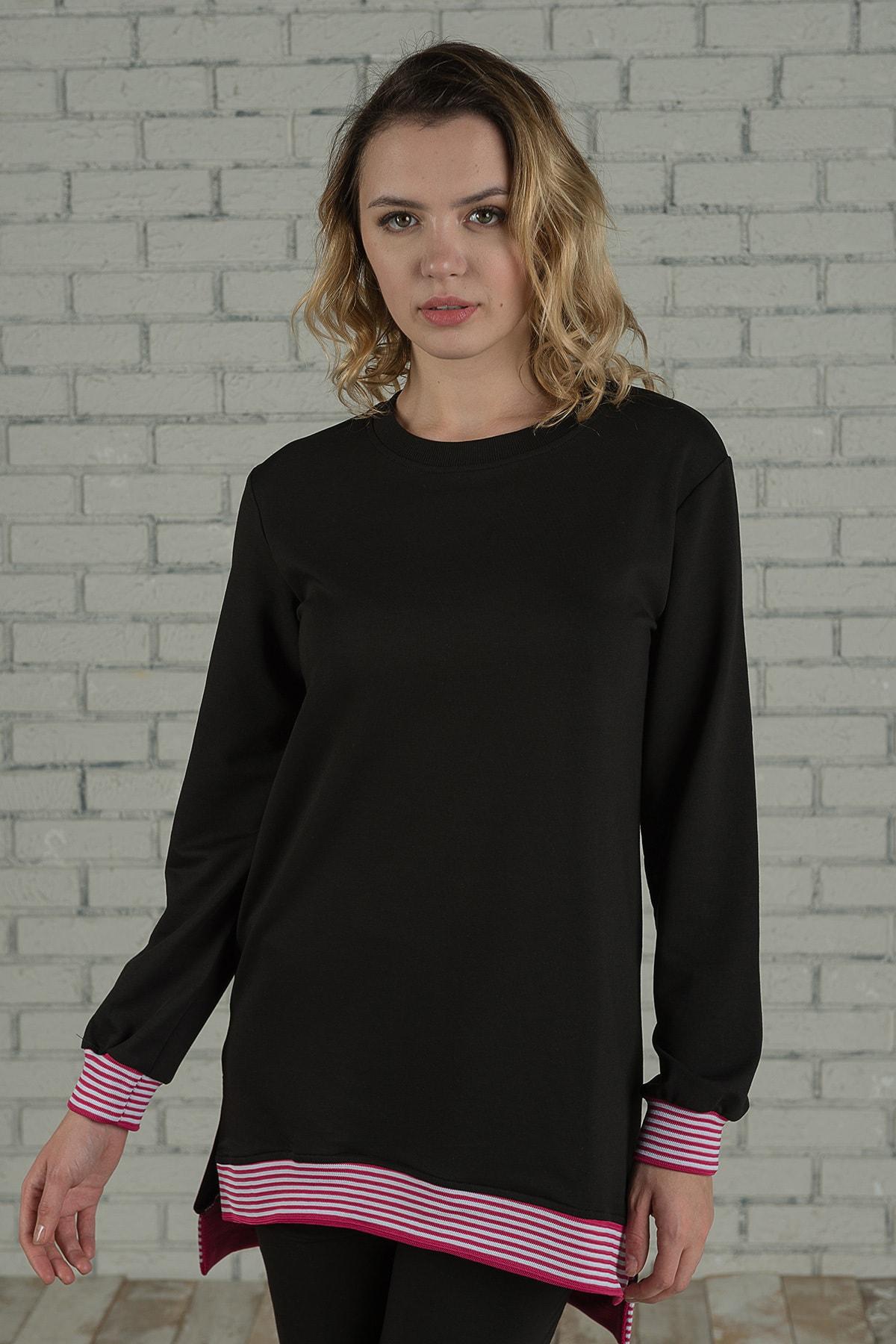 Runever Kadın Pembe Şeritli Tunik Takım 1