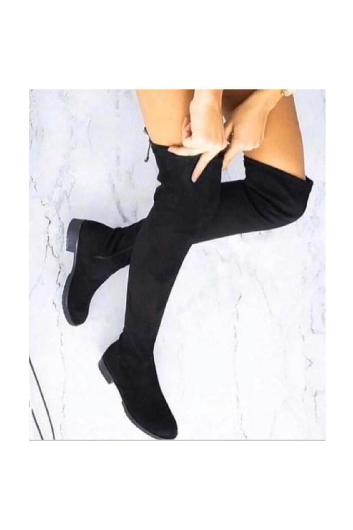 İmerShoes Siyah Kadın Streç Çorap Fermuarlı Çizme Bayan Bot 1