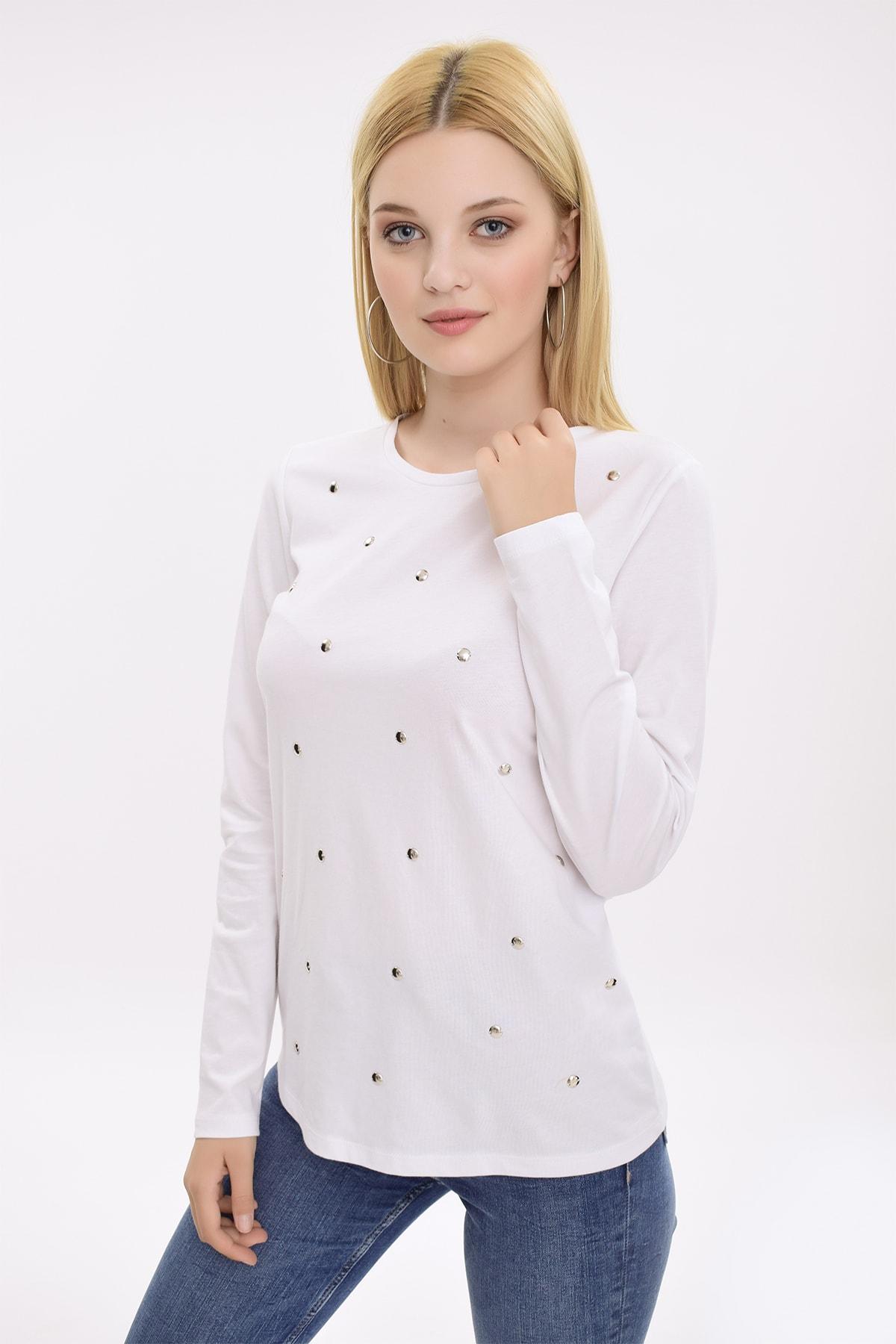 Hanna's by Hanna Darsa Kadın Beyaz Metal Boncuk İşlemeli Uzun Kollu Bluz HN2079 2
