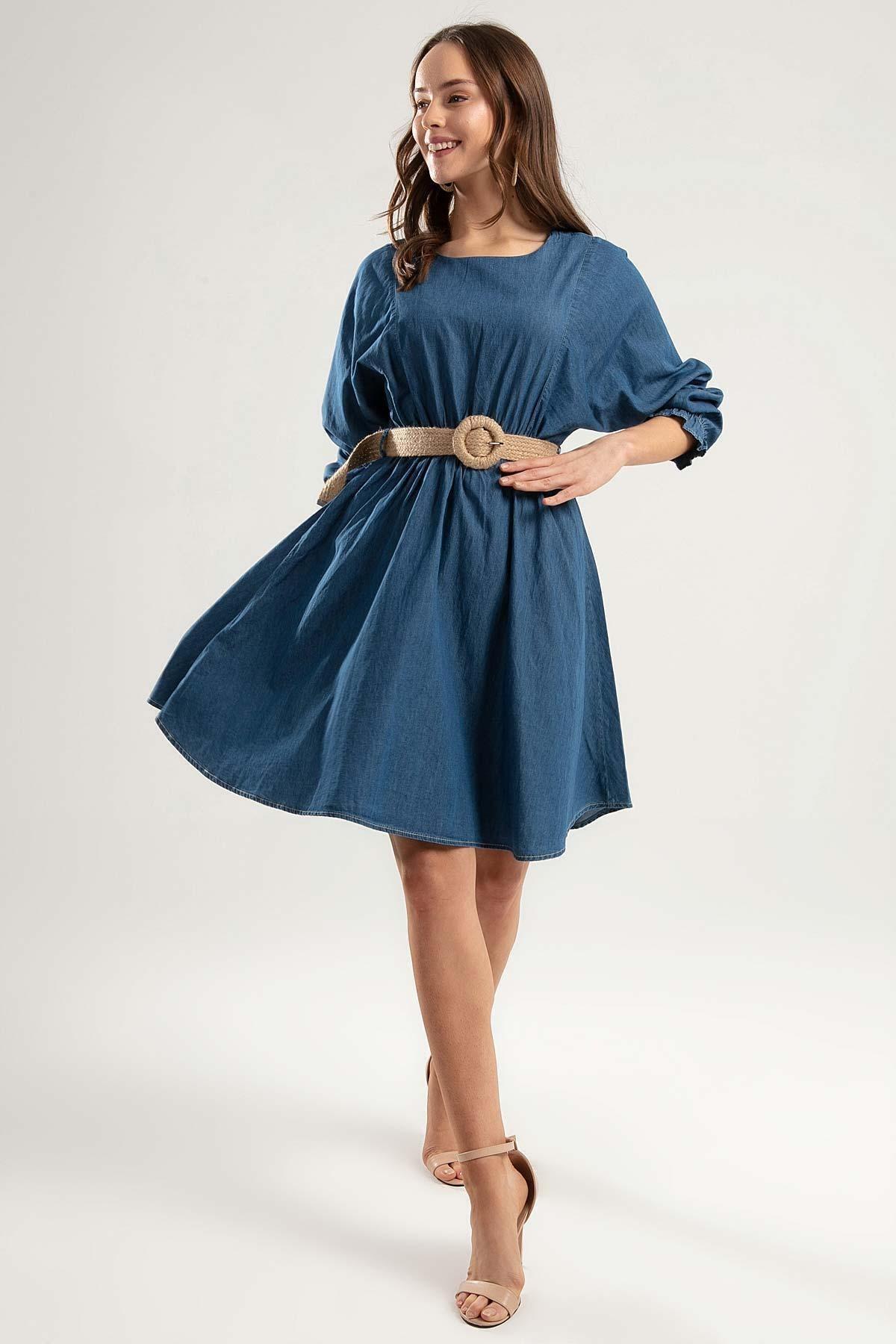 Pattaya Kadın Kemerli Mini Kot Elbise Y20s110-1923 1