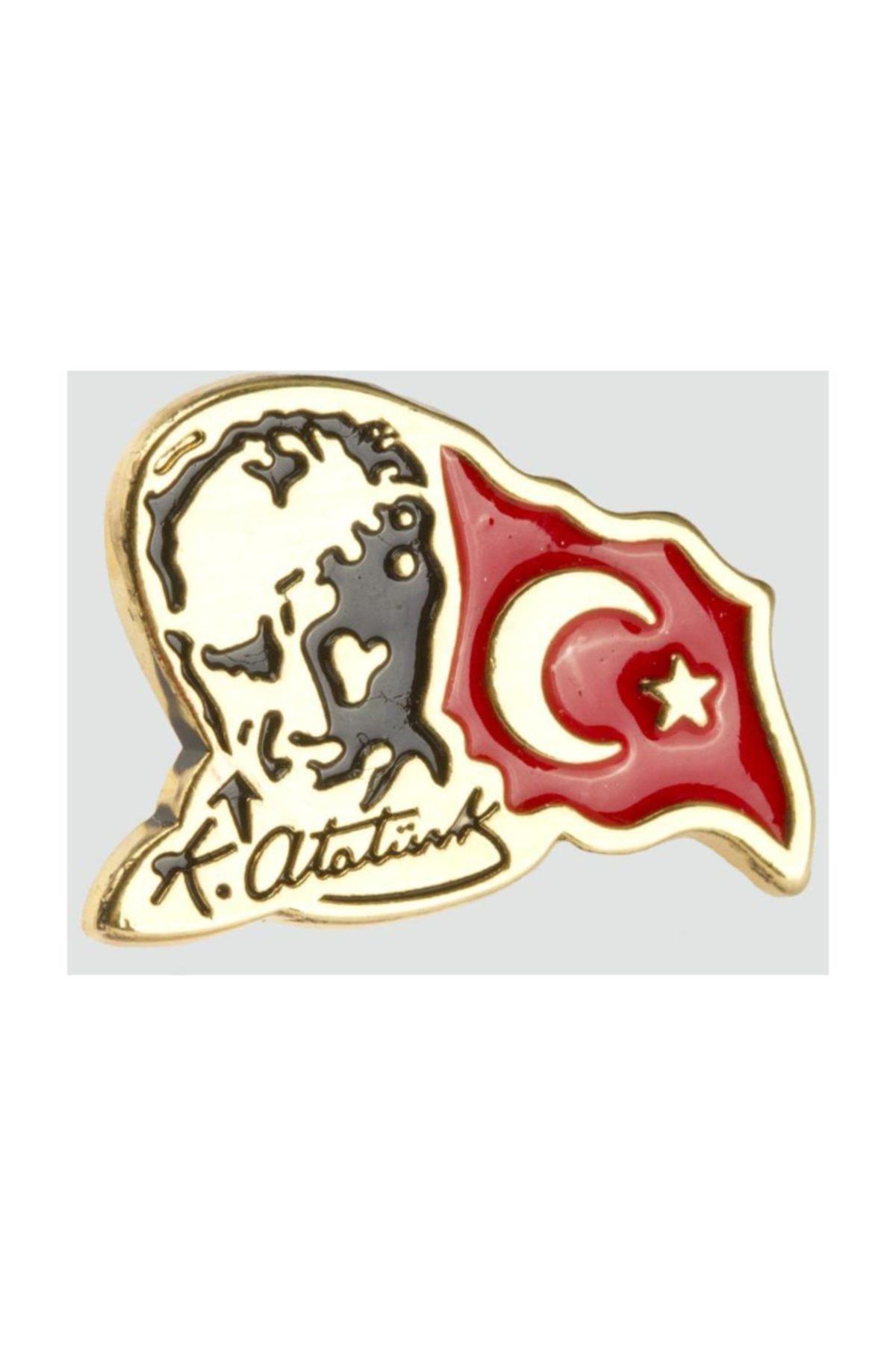 Akın Aksesuar Ay Yıldız Tük Bayrağı Atatürk Resimli Sarı Yaka Rozeti 1