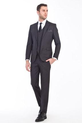 Kiğılı Slim Fit Yelekli Desenli Takım Elbise