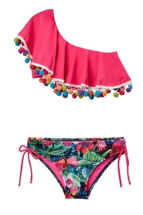 Pierre Cardin Kız Çocuk Tek Omuz Çocuk Bikini 204201 Çiçekli