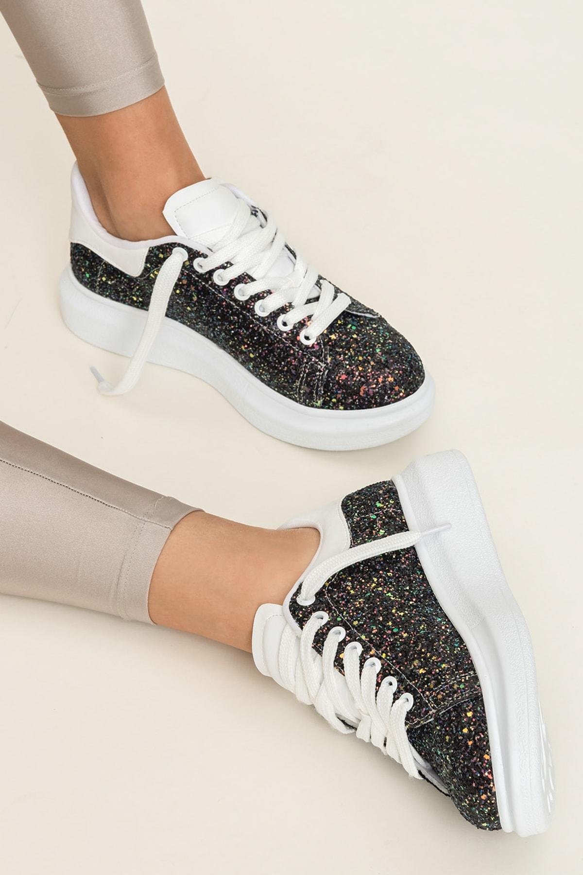 Elle Shoes ZANDA-2 Siyah Gliter Kadın Ayakkabı 1