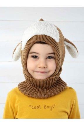 Modakids Kahverengi Kuzucuk Çocuk Örme Yün Atkılı Bere