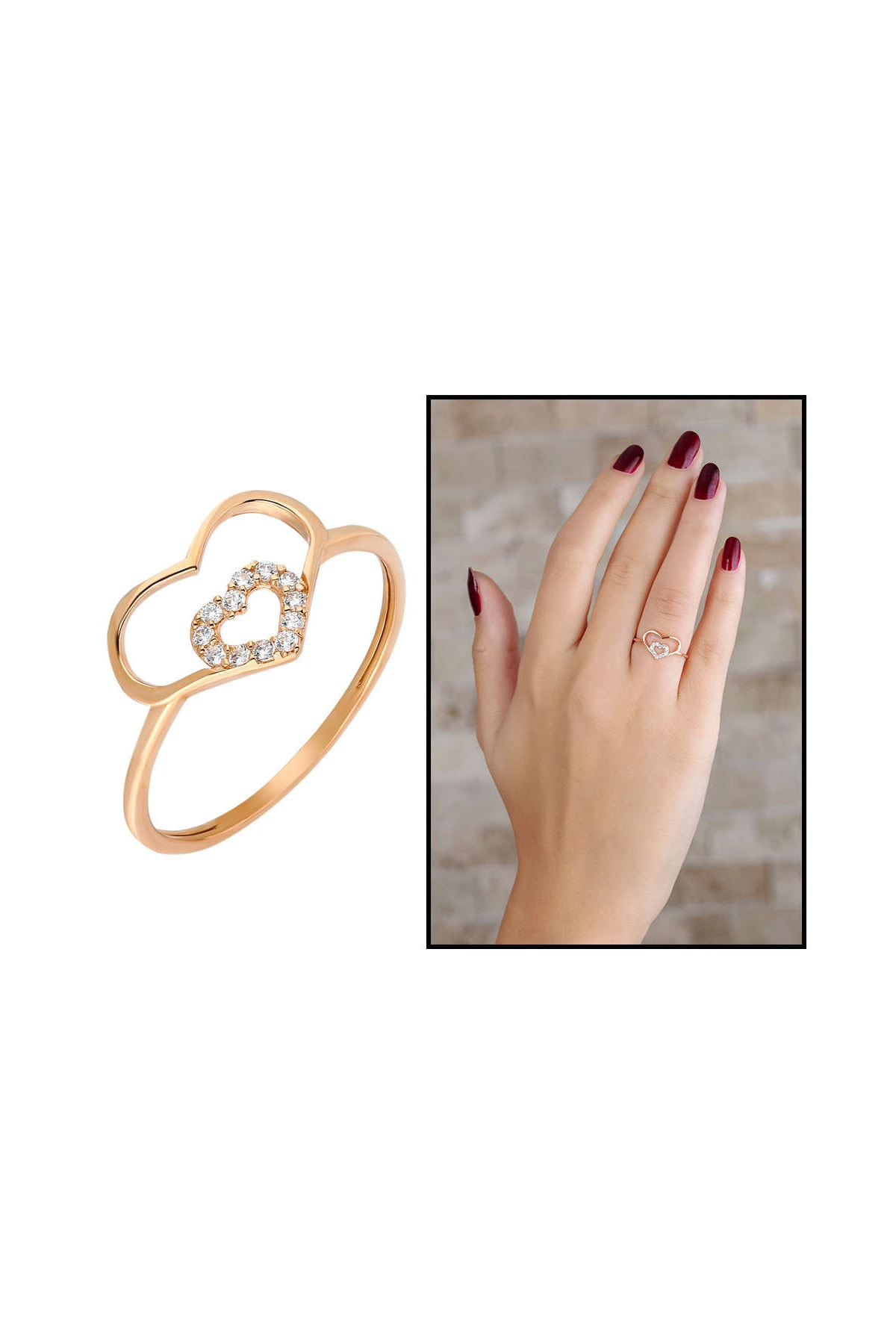 Tesbihane Zirkon Taşlı İç İçe Kalp Tasarım Rose Renk 925 Ayar Gümüş Bayan Yüzük 102001708