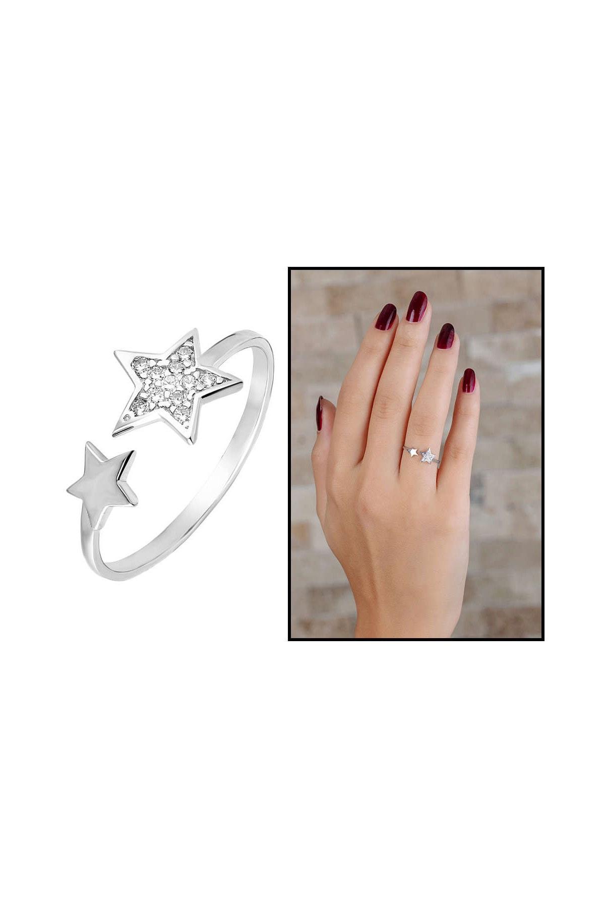Tesbihane Zirkon Taşlı Yıldız Tasarım 925 Ayar Gümüş Bayan Yüzük 102001700